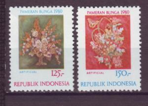 J21096 Jlstamps 1980 indonesia mh set #1074-5 flowers