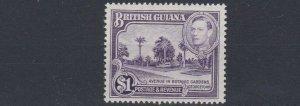 BRITISH GUIANA  1951  S G 317A  $1  PERF 14 X 13  MH  CAT £550