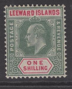 LEEWARD ISLANDS SG26a 1902 1/- GREEN & CARMINE DROPPED R MNH