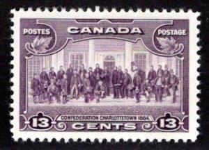 Scott 224, Charlottetown, 13c, VF/XF, MLHOG, Canada Postal Stamp