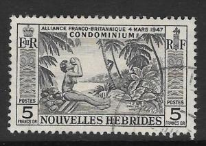 NEW HEBRIDES (FRENCH) SGF106 1957 5f BLACK FINE USED