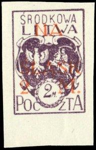 CENTRAL LITHUANIA / MITTELLITAUEN - 1921 Mi.25B 2M/2M Mint* - ref.881j