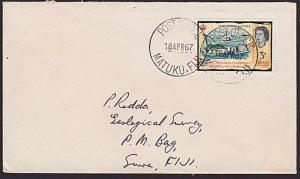 FIJI 1967 cover POST OFFICE MAKUTU FIJI cds.................................5929