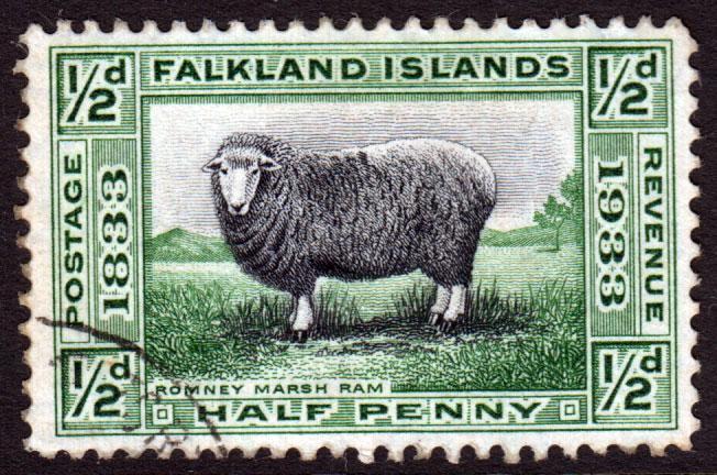 Falkland Islands KGV 1933 0.5d Black Green SG127 Fine Used