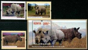 2018 Kenya Tourism - White Rhino (3) + SS(Scott NA) MNH