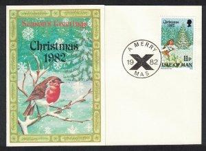 Isle of Man Christmas Robin Birds Maxicard SG#225-226 SC#221-222