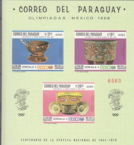 1968, Paraguay: Sc #1069, S/S, MNH (S17839)