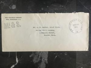 1920s Tela Honduras M&S Cover to USA United Fruit Company Mail Scarce Stampless