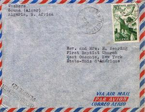 Algeria 50F Storks Over Mosque 1956 Boufarik Airmail to West Oneonta, N.Y. wi...