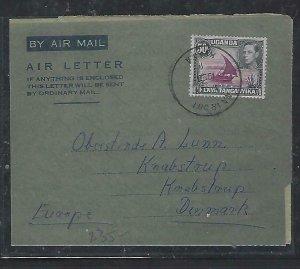 KENYA,UGANDA,TANGANYIKA COVER (P0112B) 1953 KGVI 50C BOAT AEROGRAMME TO DENMARK