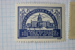 Denver Stamp Club APS Colorado King of Hobbies Philatelic Souvenir Ad Label MNH