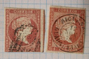 Spain sc#37x2 36 4c dated 1858 postmark Sigüenza Guadalajara QI cv$57.50