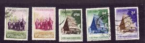 Republic of Viet Nam-Sc#63-7-used set-Hunters on Elephants-1957-please note #65
