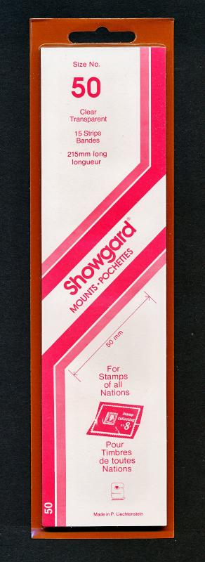 Showgard Stamp Mounts Size 50/215 CLEAR Background Pack of 15