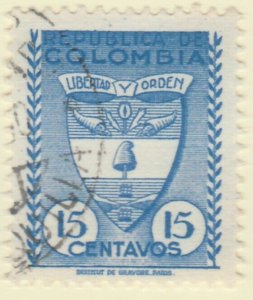 Colombia 1949 15c Fine Used A8P52F58