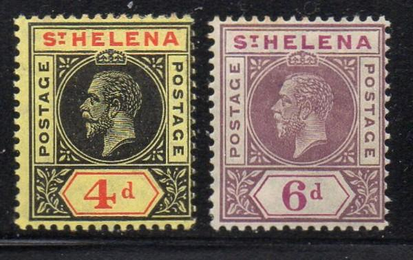 St Helena Sc 73-4 1913 4d & 6d GV stamps mint