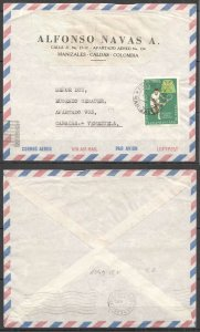 A0550 1964 COLOMBIA TO VENEZUELA SPORT CHESS !!! AIR MAIL VERY RARE FDC