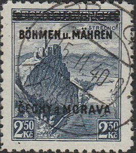 Stamp Germany Bohemia Czechoslovakia Mi 015 Sc 015 1940 WWII 3rd Reich War Used