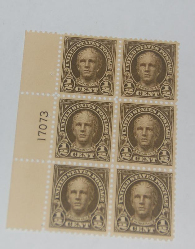 #551 1/2 cent Nathan Hale Plate block