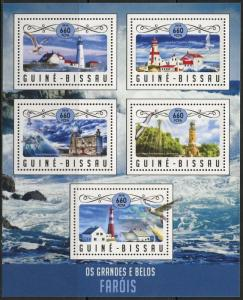 Guinea-Bissau MNH S/S Lighthouses 2016 5 Stamps