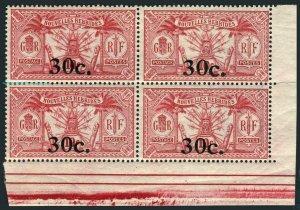 New Hebrides Fr 41 block/4,MNH.Michel 72. Coat of Arms,new value,1924.
