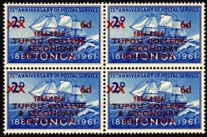 Tonga 1966 Cent Tupou College Sg164 6d on 2d Ultramarine 2x2 Block MM & MNH
