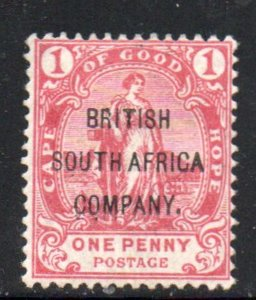 Rhodesia Sc 44 1896 1d Cape stamp overprinted Brit. S Africa Co  mint