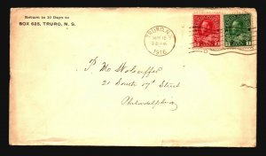 Canada 1916 Truro NS Cover to Phili / Light Creasing - Z16350