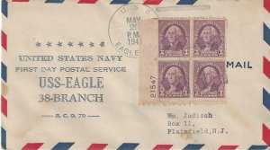 US Naval Cover USS Eagle #38 First Day Postal Service 1941 Thermographed Cachet