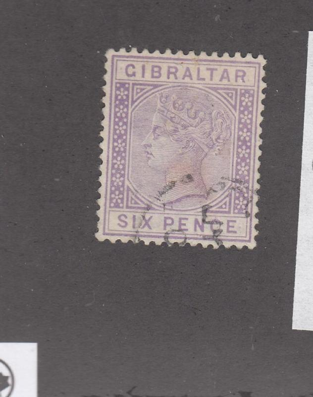 GIBRALTAR # 18 VF-LIGHT USED QUEEN VICTORIA 6p WMK Crown CA
