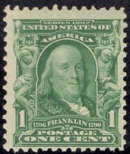 US Stamp Scott #300 1c Franklin Mint NH SCV $30