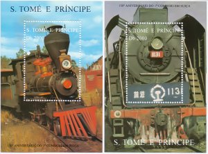 Sao Tome and Principe. 1997. 1730-38 bl366-69. Railway. MNH.