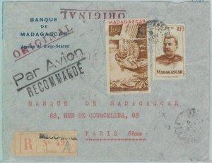 80994 -  MADAGASCAR  - POSTAL HISTORY - Registered COVER from DIEGO SUAREZ 1951