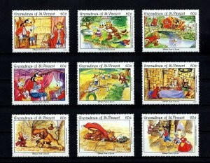 ST VINCENT GR - 1992 - DISNEY - PUSS IN BOOTS - FAIRY TALES - MINT - MNH SET!