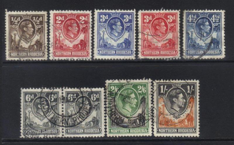 NORTHERN RHODESIA 1938 DEFINS 9 USED VALUES CAT £23+