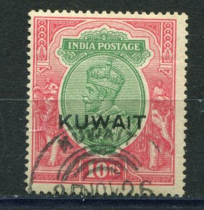 GV KUWAIT 1923-1924 OVERPRINT ON INDIA SCOTT & SG 15 10 RUPIES VERY FINE USED