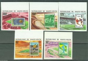 UPPER VOLTA  SOCCER STAMP ON STAMP MOTIF IMPERFORATED SET SC#456/60  MINT NH