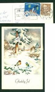 Denmark. Christmas Card Birds. 1957 With Seal Ship. Cancel  Esbjerg. Birds