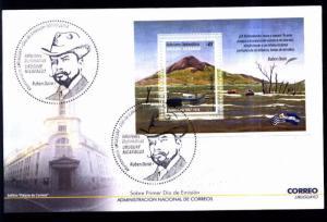 URUGUAY 2014 NICARAGUA ,VOLCAN MOMOTOMBO,RUBEN DARIO S/S YV BL 103,FDC