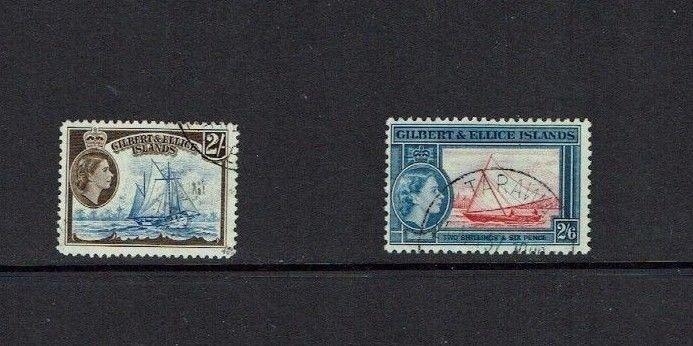 Gilbert & Ellice Islands, !956, definitives 2/- and 2/6, VF used
