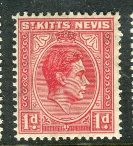 ST. KITTS; 1938 early GVI issue fine Mint hinged Shade of 1d. value