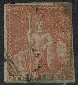 TRINIDAD 1851 BRITANNIA (1D) IMPERF ON BLUED PAPER USED