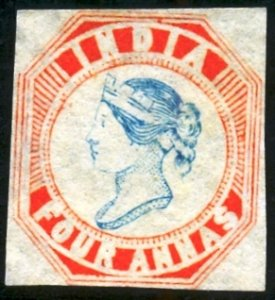 INDIA QV 4a Die III, 1894 ESSAY, CUT SQUARE. FINE CONDITION