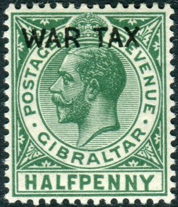 GIBRALTAR-1918 ½d Green War Stamp WMK INVERTED/REVERSED Mounted mint Sg 86y