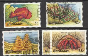 Barbados Sc# 642-646 (Assorted) Used Lot/4 1985 Defs/Marine Life