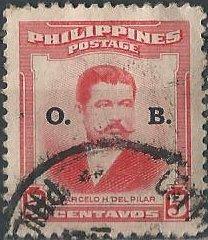 Philippines O58 (used) 5c Marcelo H. del Pilar, ovptd (1952)