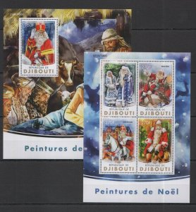 DJ001 2016 DJIBOUTI ART PAINTINGS CHRISTMAS NOEL KB+BL MNH