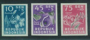 87005c - INDONESIA - STAMP - IMPERF proofs NEVER ISSUED - Flowers ORCHIDS 1950'S