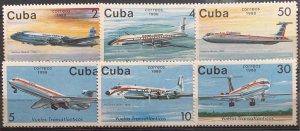 CUBA 1988 SC# 3028-3033 CUBANA AIRLINES TRANSATLANTIC FLIGHTS Set x 6MNH