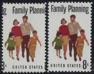 1455 - 8c Huge Color Shift Error Change of Design Family Planning Mint NH
